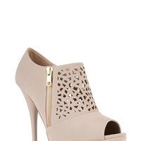 Peep Toe Platform Bootie with Perforated Upper and Side Zipper