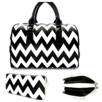 Thick Faux Leather Black/White Chevron Purse Wallet Combo