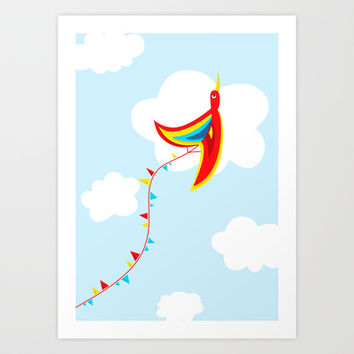 Kite Bird Art Print by Boriana Giormova