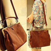 Fashionbox Classic Ladies' PU Crossbody Tote Bag Vintage Casual Message Bag Shoulder Handbag - Vintage Brown