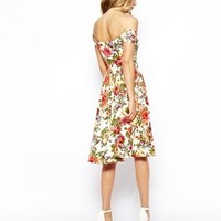 ASOS Bardot Midi Dress in Pretty Floral