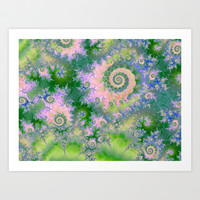 Rose Apple Green Dreams, Abstract Water Garden Art Print by Diane Clancy's Art