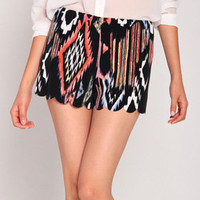 Painted Tulip Shorts in Black/Multi