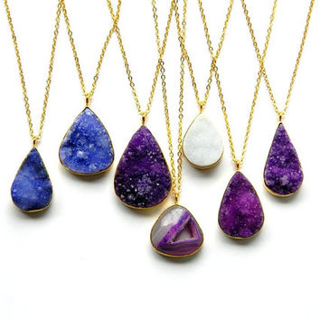 Druzy Necklace - Drusy Crystal Necklace - Gold Framed Necklace - Blue Purple or White Druzy Necklace - Long Layering Necklace