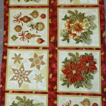 Cotton Fabric, Home Decor, Craft Fabric,Christmas Panel,Holiday Flourish 7 by Peggy Toole for Robert Kaufman,Christmas Symbols,Fast Shipping