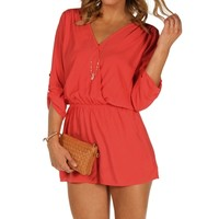 Coral Red Rolled Up Sleeves