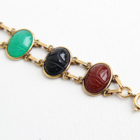 Vintage 12k Yellow Gold Filled Scarab Bracelet - Retro 1960s Carved Bloodstone, Lapis, Onyx, Colorful Egyptian Revival Statement Jewelry