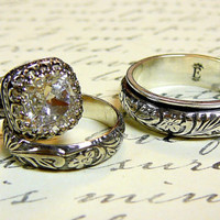 Vintage Sterling Silver Swarovski Crystal Husband & Wife Wedding Set