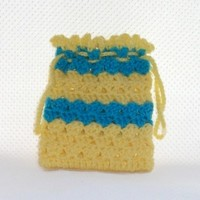 Crochet Drawstring Bag Yellow with Turquoise Blue Stripes