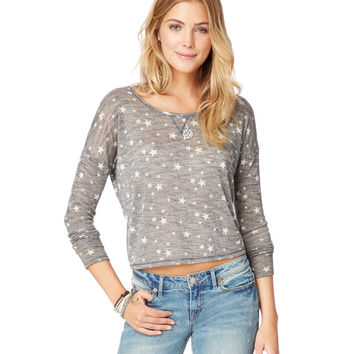 Long Sleeve Star Knit Crop Top