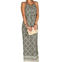 Damask Cinched Waist Maxi Dress