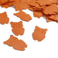 Fall Wedding Decor - Orange Owl Confetti - Halloween - 100 Pieces
