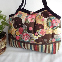 Japanese Kimono Pattern Granny bag purse flowers brown by MofLeema