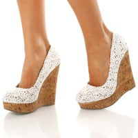 The Long Lace Wedges: White