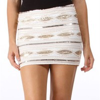 Cream Sequin Mini Skirt