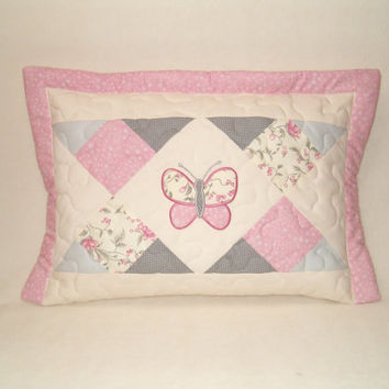 Geometric Butterfly Baby Pillow,  Home Decor, Baby Shower  Giftguide, Baby Room Decor, pink-cream-gray