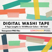 Digital Washi Tape - Art Supply & Design Elements, digital scrapbooking, bright washi tape clipart, digital collage sheet, diy and craft