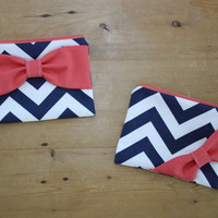 Cosmetic Case / Zipper Pouch / Makeup Bag - Navy and White Chevron with Coral Bow - Customizable Bow Style