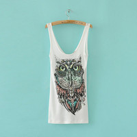 Cute Owl  Women Tank Top  White by zzzAfternoon on Etsy