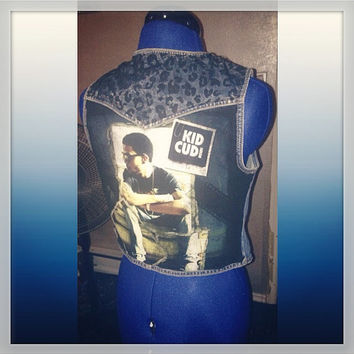 Kid Cudi denim vest with leopard print accents