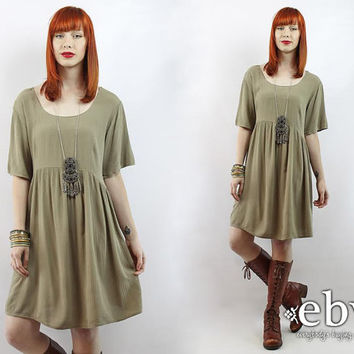 Vintage 90s Taupe Babydoll Dress XL 1X Hippie Dress Hippy Dress Boho Dress Festival Dress Summer Dress Plus Size Dress Plus Size Vintage
