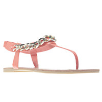 Chain Cuff T-Strap Sandals | Wet Seal