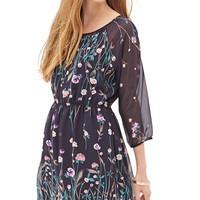 FOREVER 21 Floral Foliage Chiffon Dress Navy/Pink