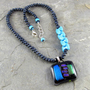 Dichroic Glass Pendant Necklace Vintage Glass Turquoise Black Sterling | LindaLandigJewelry - Jewelry on ArtFire
