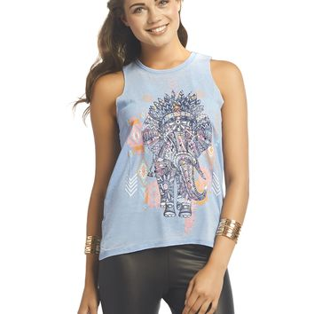 Tribal Elephant Burnout Tank | Wet Seal
