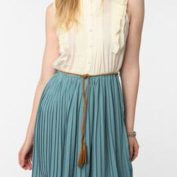 Blue Bird Pleated Chiffon Button-Down Dress