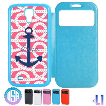 Custom your Monogram on Rope Anchor Pattern Flip Leather Cover @ Samsung Galaxy S4 / S3 , Note 3 / Note 2 , IPhone 5 5S , IPhone 4 4S #L2