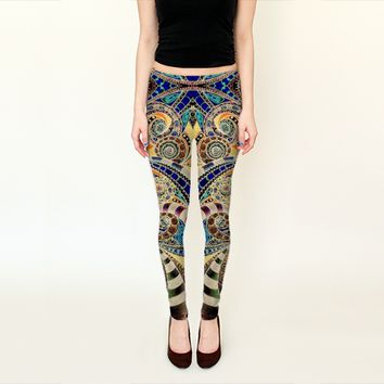 Leggings Drawing Floral Zentangle G14 by Medusa81 (Leggings)