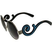 The latest! Round Lenses with Two Toned Curlycue Arms Sunglasses!