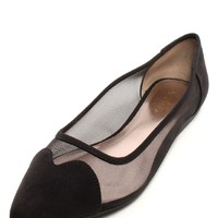 Mesh Me Chic Pointy Flats Black