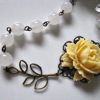 Light Yellow Rose With Round White Quartz Gemstone And Brass Filigree Leaves Branch Necklace | Luulla