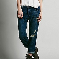 Free People Womens Arlo Destroyed Boyfriend - Lotus,