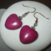 NEW My My Magenta - Dark Pink Dyed Turquoise Stone Heart Earrings | DesignsByAmyB - Jewelry on ArtFire