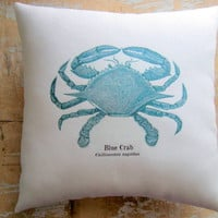 Beach Pillow, Blue Crab, Nautical, Ocean, Beach Decor, Cottage Decor | Luulla