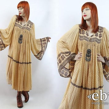 Vintage 70s Indian Cotton Dress S M L XL Hippie Dress India Dress Indian Dress Hippy Dress Boho Dress Festival Dress Cotton Dress Tent Dress
