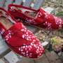 salepink and white cherry blossoms on toms redREADY MADE by ArtfulSoles