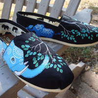 Elephants hand painted on TOMS shoes customize the by ArtfulSoles