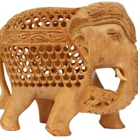 SouvNear 7 Inch Wooden Mother Elephant Statue with a Baby Elephant Inside and Another on the Trunk! All Hand-Carved From a Single Block of 'Kadam' Wood - Amazing Detailed Carving Work - Elephant Decor Figurine Gifts - Excellent Sculpture, Fair Price