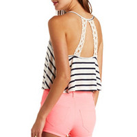 CROCHET BACK STRIPED CROP TOP