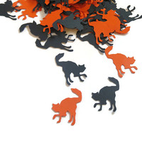 Orange and Black Cat Confetti - Halloween Party Supplies - 100 Pieces