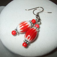 NEW Patriotic Red and White Striped Glass Earrings | DesignsByAmyB - Jewelry on ArtFire