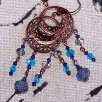 Handmade Deep Bronze Chandelier Swarovski Blue Earrings | peaceloveandallthingsjewelry - Jewelry on ArtFire