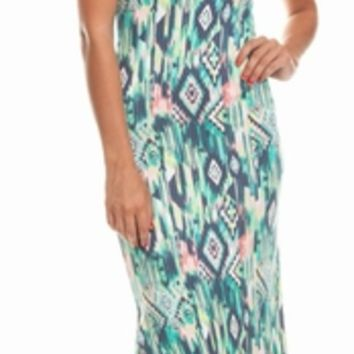 Multicolored Tribal Printed Maxi Dress