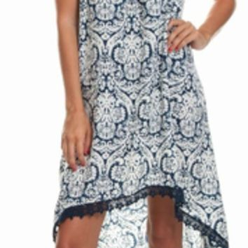 Paisley Printed High-Low Dress