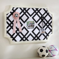 Scallop Framed Monogram Pinboard, Ribbon Geo, Black