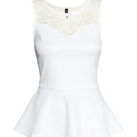 H&M - Peplum Top - White - Ladies